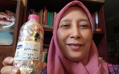 Efriyani ecobricked 220 g of plastic in Semarang, Indonesia…