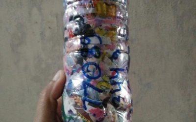 """""""Hijau bumi kubebas sampah dengan ecobrick"""" by Yuniah wahyu ecobricking in Indonesia using  CoV-19 Enhanced Ecobricking"""